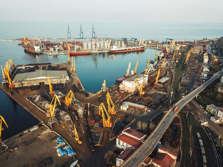 Sea port from a birds-eye view. Odessa, Ukraine Stock fotó