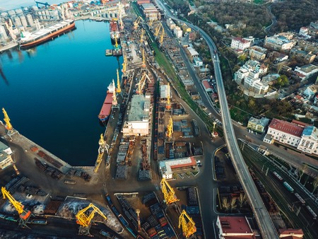 Sea port from a birds-eye view. Odessa, Ukraine 免版税图像