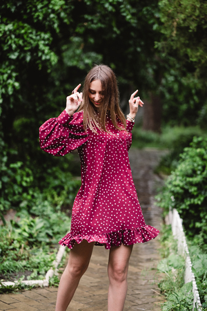 the girl in a crimson dress
