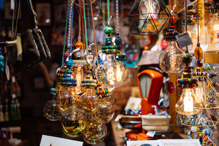 The store is decorated with electric light bulbs Stock Photo