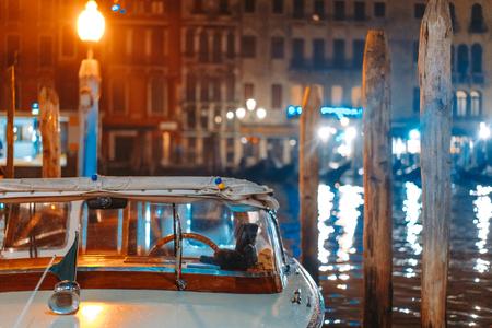Piccola barca al canale notturno Archivio Fotografico