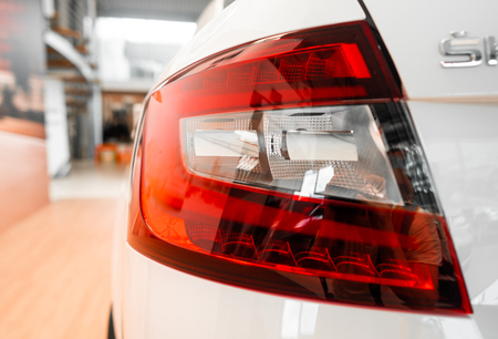 The rear lights of a modern prestigious car from a close angle Stock Photo