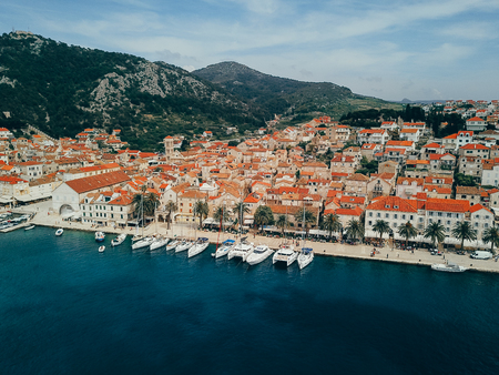 Aerial view photo of picturesque port with sailboats and yachts Stock Photo