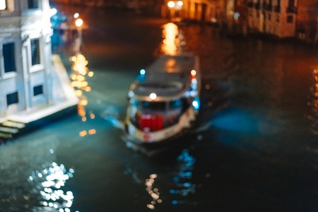 A view of the canal at night. Venice, Italy 스톡 콘텐츠