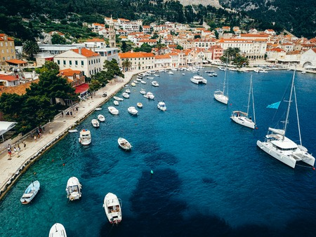 Aerial view photo of picturesque port with sailboats and yachts 写真素材
