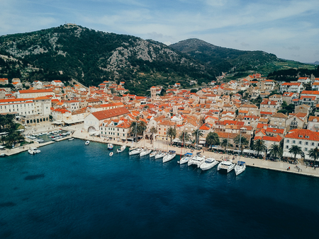 Aerial view photo of picturesque port with sailboats and yachts Reklamní fotografie