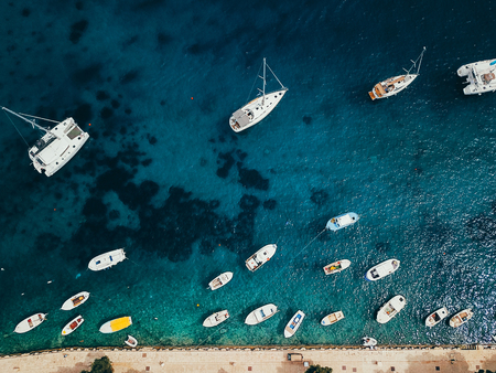 Aerial view photo of picturesque port with sailboats and yachts Stock fotó