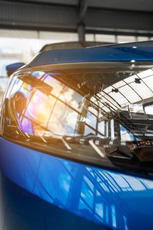 The headlamp of a modern prestigious car from a close angle