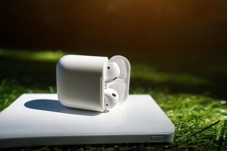 Wireless headphones and powerbank lie on the grass