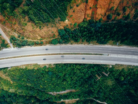 Aerial view of the road in the mountains