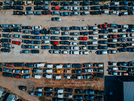 Aerial view of the big car dump Reklamní fotografie
