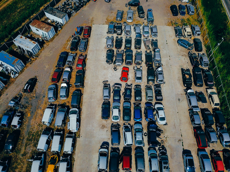Aerial view of the big car dump Stock Photo