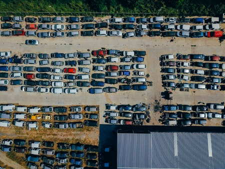 Aerial view of the big car dump 스톡 콘텐츠