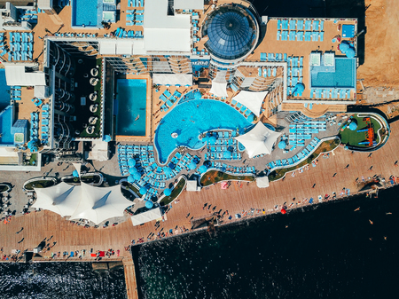 Aerial photography water park on the embankment Banco de Imagens