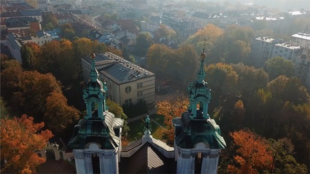 Aerial View of Krakow, Wawel, Royal Castle, Poland, Фото со стока