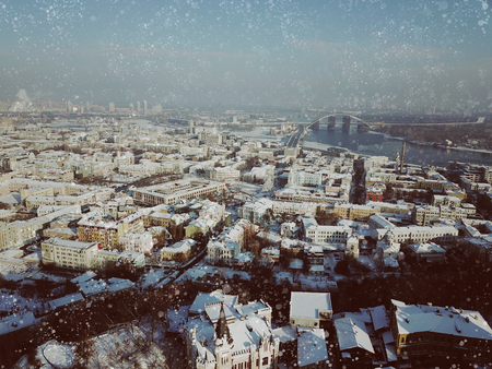 Aerial drone footage. Panorama of podil in kiev Imagens - 119695937