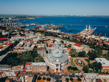 Theatre in old town of Odessa, sea port weiv, aerial photography 写真素材 - 119695944