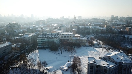 Aerial drone footage. Panorama of podil in kiev Stock Photo