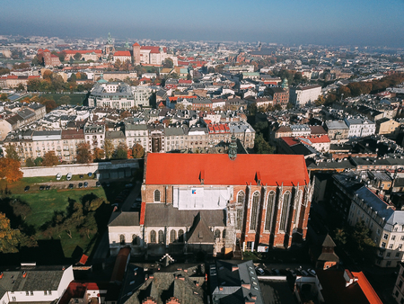 Aerial View of Krakow, Wawel Poland. Фото со стока