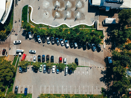 Aerial photography of modern city parking from above.