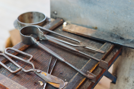 Various Glass Blowing Old Tools, Close View