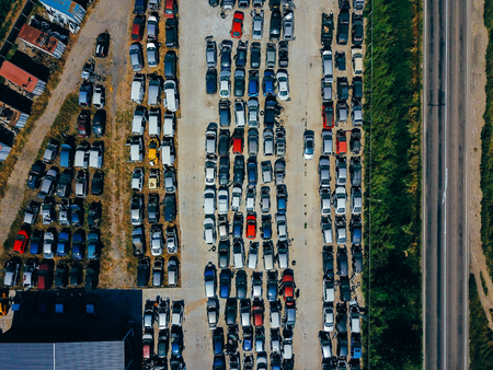 Aerial view of the big car dump Фото со стока