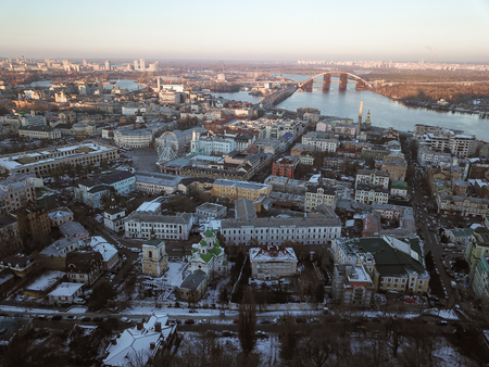 Aerial drone footage. Panorama of podil in kiev at winter Imagens - 119778102