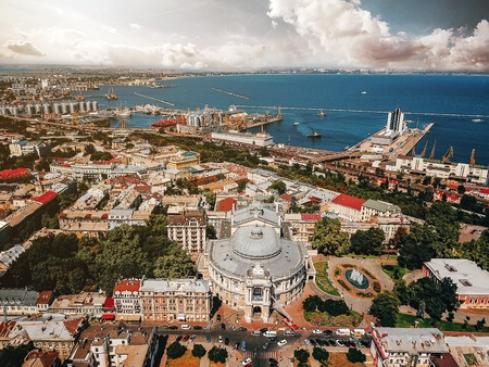 Theatre in old town of Odessa, sea port weiv, aerial photography