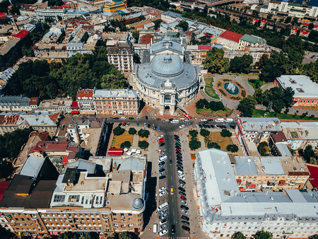 Photo of a big city from a bird's-eye view. Aerial photography of Odessa