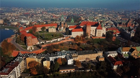 Aerial View city of Krakow, Wawel, Royal Castle Фото со стока