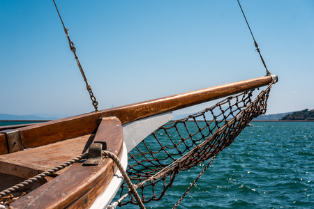 Photo of an old wooden boat, close view Stock Photo