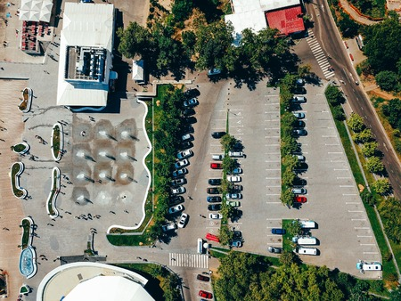 Aerial photography of modern city parking from above. Фото со стока - 120737049