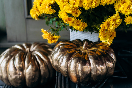 Autumn decoration with pumpkins and flowers on a street in a European city