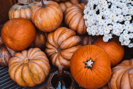 Autumn decoration with pumpkins and flowers on a street in a European city Фото со стока - 121959324