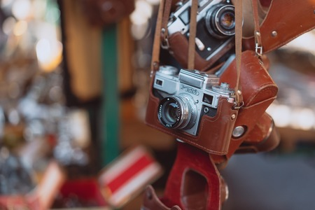 Old cameras are sold at a street market 写真素材 - 121957159
