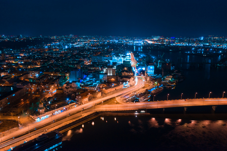 Highway at night in modern city. Aerial view of cityscape 写真素材 - 123209537