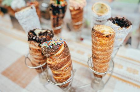 Few sweet rolls with cream for sale Reklamní fotografie