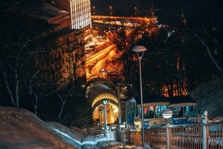 The funicular on Vladimirs Hill, in the background night Kiev