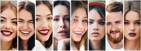 Un collage di ritratti di persone di aspetto diverso. Editoriali