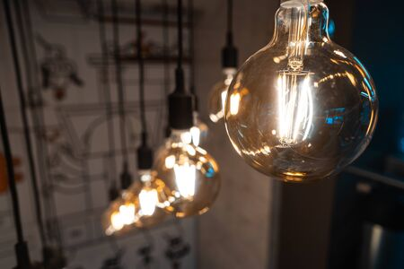 Close up round light bulbs in a vintage room. Stock Photo