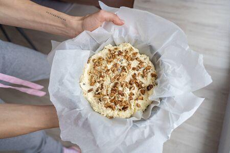 Image of walnut on cottage cheese dessert Banco de Imagens