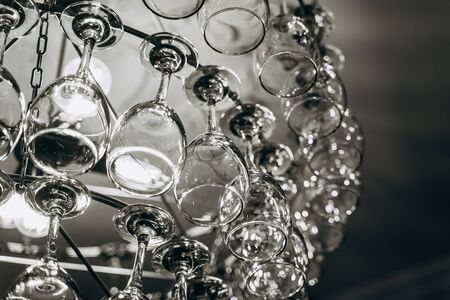 Beautiful chandelier made with glasses of wine Stock Photo