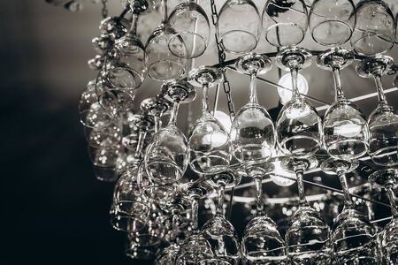 Beautiful chandelier made with glasses of wine Stok Fotoğraf