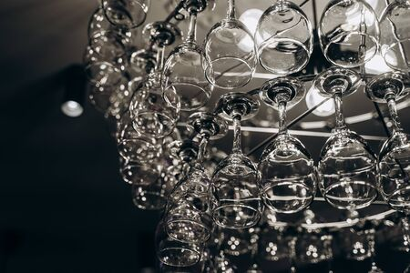 Beautiful chandelier made with glasses of wine Stock fotó
