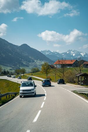 Car driving on the highway with mountains Stok Fotoğraf