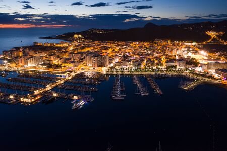 Aerial view of city port at night. 写真素材