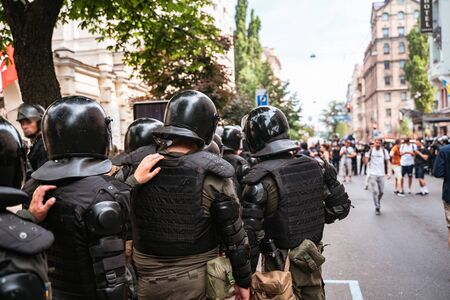 Police force to maintain order in the area during the rally Stock Photo - 136150603