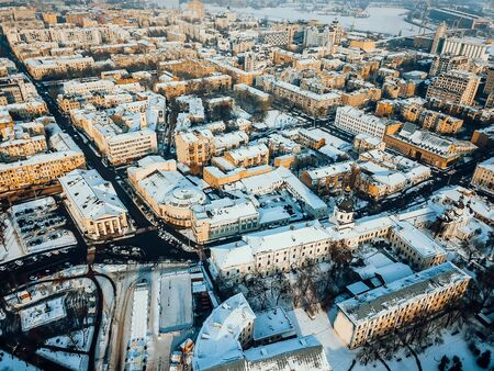 Kontraktova Square on Podil in Kyiv, aerial view