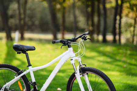 White bicycle standing in park. Morning fitness, loneliness. Stock Photo