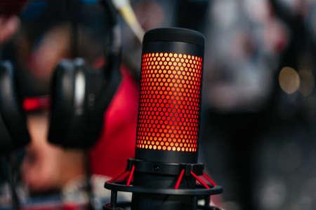 Professional studio condenser microphone attached to shock mount Standard-Bild